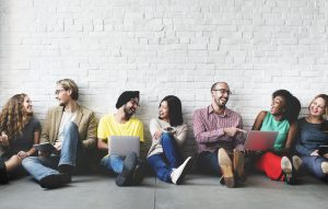 Group of diverse individuals connecting